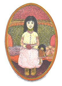 The Girl With the Ribbon as she appears in In a Dark, Dark Room and Other Scary Stories